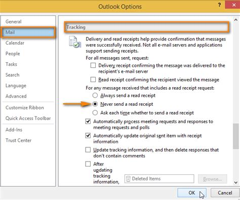 get email delivery confirmation read receipt in outlook