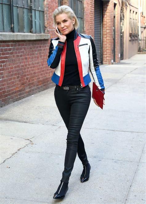yolanda foster style in clothing yolanda hadid leather jacket clothes lookbook stylebistro