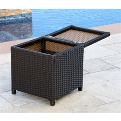 Outdoor Storage Ottoman Abbyson Living Carlsbad Outdoor Wicker Storage Ottoman In Espresso Dl Rsf004 Brn