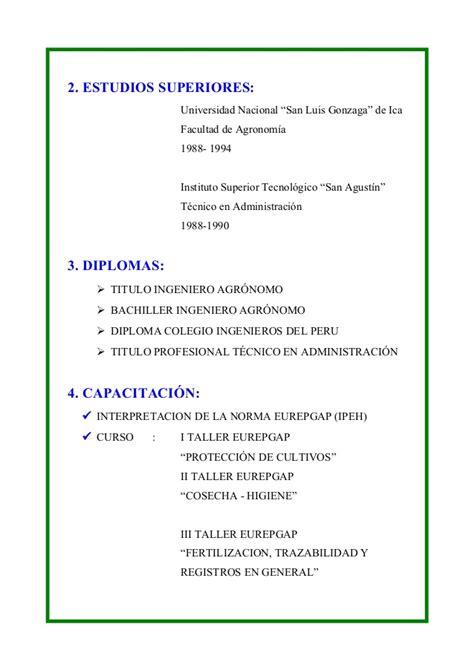Modelo Curriculum Vitae Simple Peruano Curriculum Vitae