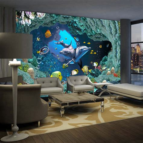 Wall Murals For Boys aliexpress com buy 3d underwater world wallpaper custom