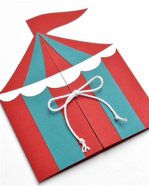 circus tent card template boys circus or carnival tent handmade birthday by