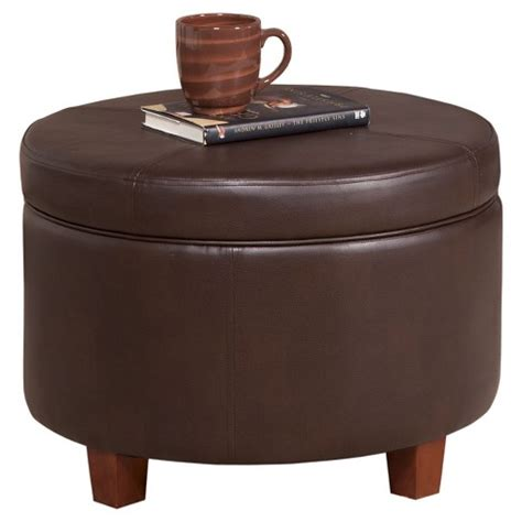 large brown faux leather ottoman homepop large faux leather storage ottoman