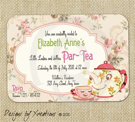 Tea Invitations Templates Free items similar to vintage tea invitation digital