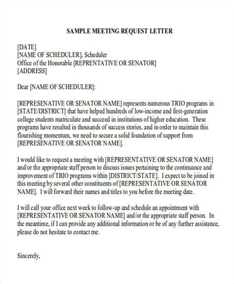 business letters meeting formal request letters