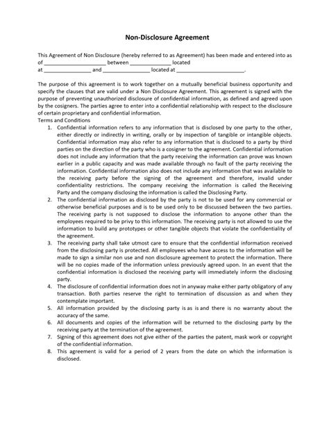 Non Disclosure Agreement Template Nda Agreement Template Word