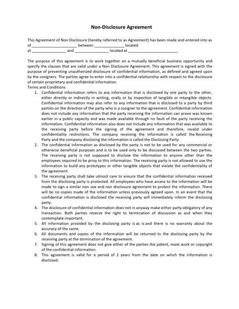 nda agreement template non disclosure agreement template