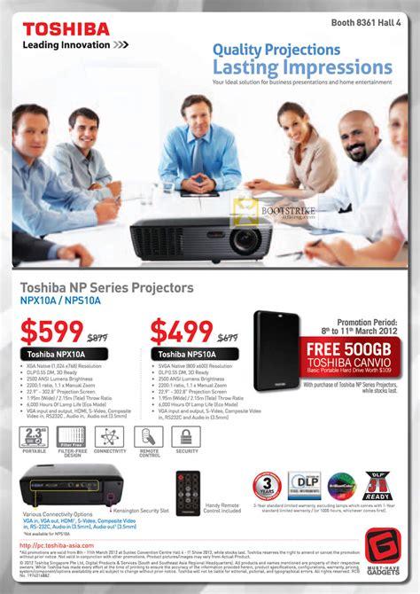 Proyektor Toshiba Npx10a toshiba projectors npx10a nps10a it show 2012 price list brochure flyer image