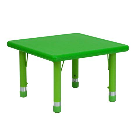 24 inch square table 24 inch square height adjustable green plastic