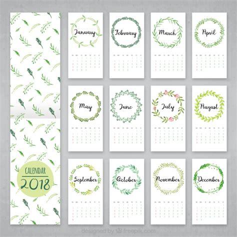 Hojas Calendario Calendario 2018 De Hojas De Acuarela Descargar Vectores