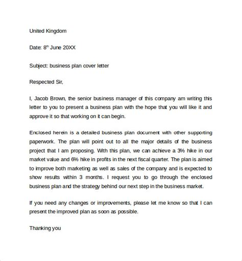 Cover Letter For A Business Plan business cover letter template 8 free