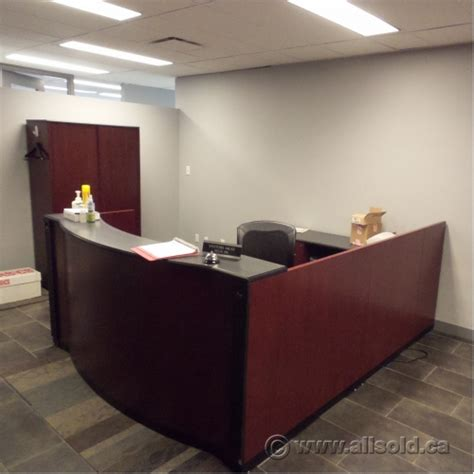 Reception Desk With Transaction Counter Mahogany C U Suite Reception Desk Transaction Counter Allsold Ca Buy Sell Used Office