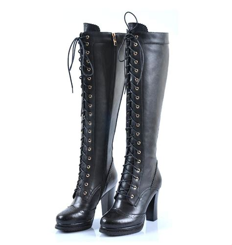 knee high lace up boots with heel sheepskin retro real leather lace up block heel