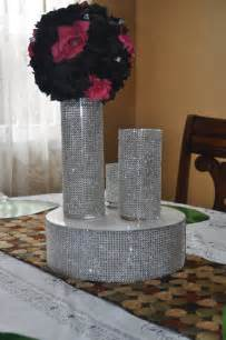Cylinder Vases Set Of 3 Rhinestone Bling Vase For Wedding Party Centerpiece Table