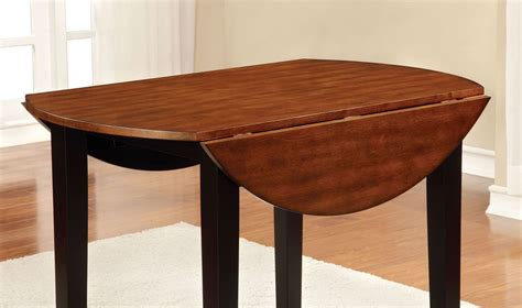 Dover Ii Black And Cherry Drop Leaf Round Dining Table Cherry Drop Leaf Dining Table