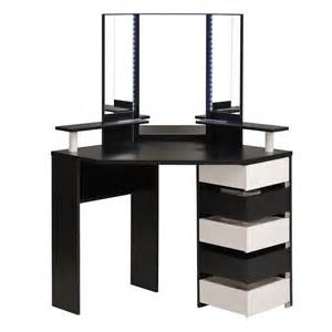 Black Makeup Vanity With Drawers Coiffeuse D Angle Avec Leds Quot Dolly Quot Noir
