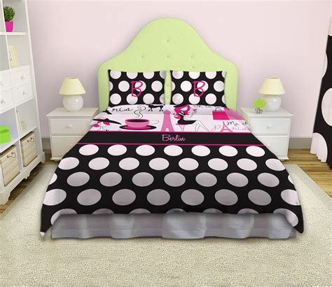 Paris themed pink and black bedding set girls pink and white comforter 2 eloquent innovations