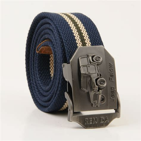 canvas belt for striped buckle leather belt