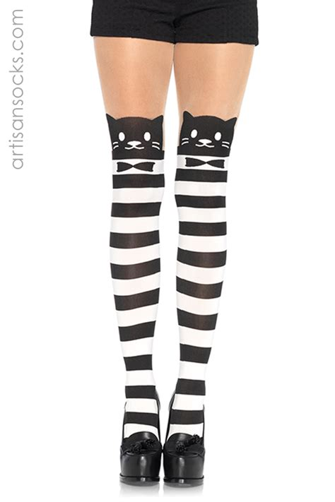 black and white patterned tights black and white striped fancy cat tights