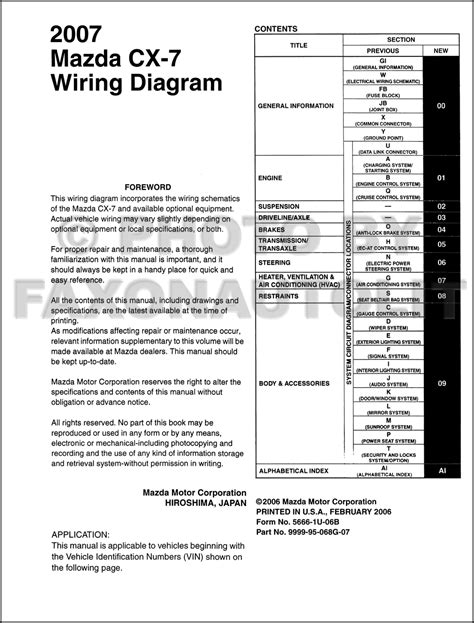 2007 mazda wiring diagram wiring diagram with description
