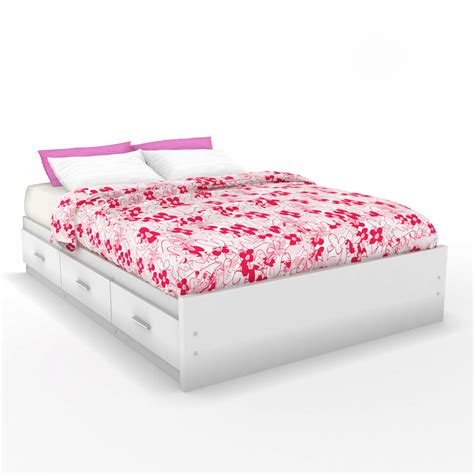 White Platform Bed With Storage Shop Sonax Willow White Platform Bed With Storage At Lowes