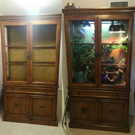 armoire terrarium diy chameleon terrarium from an china cabinet