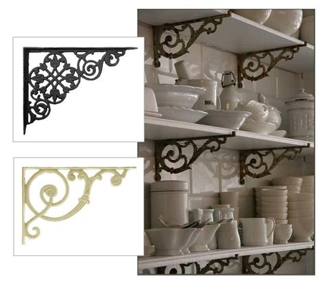 stacked wood kitchen shelves with iron brackets make french bistro style shelving with cast iron brackets