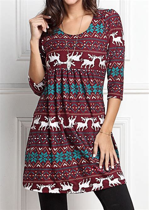 Blouse Fs05 Jfashion reindeer o neck mini dress without necklace fairyseason