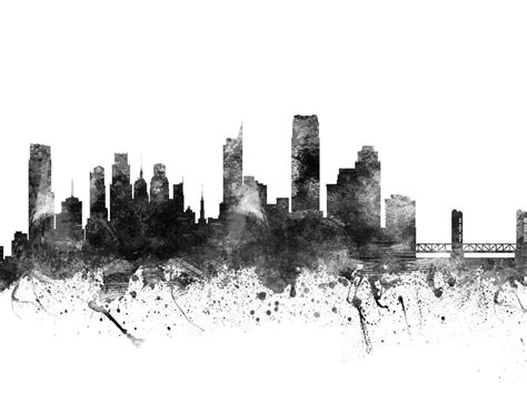 Cityscape Curtains Sacramento California Cityscape 02bw Digital Art By Aged Pixel