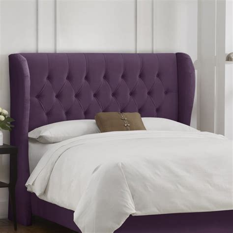 Upholstered Wingback Headboard Tufted Wingback Velvet Upholstered Headboard Headboards At Hayneedle