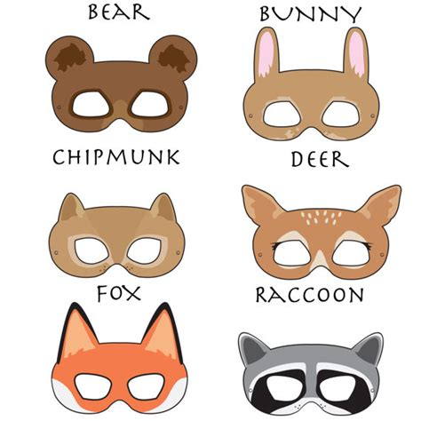 printable animal eye masks woodland forest animals printable masks cool