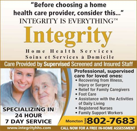 integrity home health services 102 weldon st moncton nb