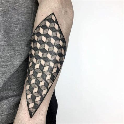 cube tattoo 50 geometric forearm designs for manly ideas