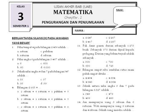 Matematika Kls Vii Semester Ii K13n soal matematika kelas 3 bab 2 pengurangan dan penjumlahan rief awa kumpulan