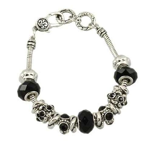 black murano glass bead bracelet pandora inspired