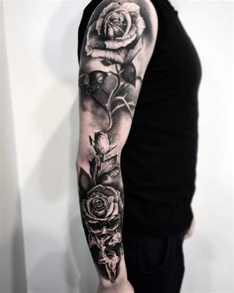 what goes good with rose tattoos 50 badass tattoos for flower design ideas