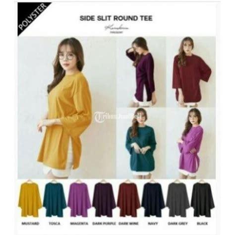 3 Setelan Baju Celana Panjang Polos Berwarna baju atasan lengan panjang side wanita polos berwarna murah jakarta dijual