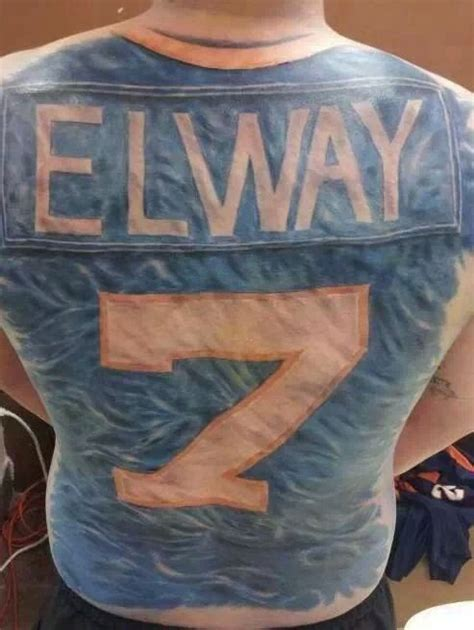 denver bronco tattoos elway jersey this dude is reppin for i