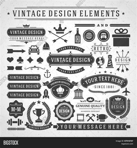 vintage vector design elements retro style typographic vintage vector design elements retro style golden