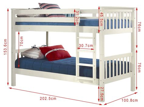 bunk bed dimensions oxford single bunk bed in white furniture123