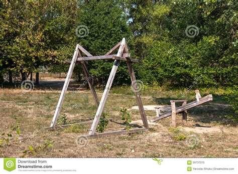 swing village ancient wooden swing in an old village stock photo image