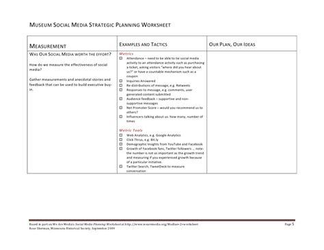 Strategic Planning Worksheet Resultinfos Museum Strategic Plan Template