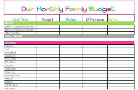 household spreadsheet templates household spreadsheet