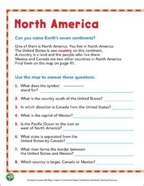 north america map skills grade  printable maps