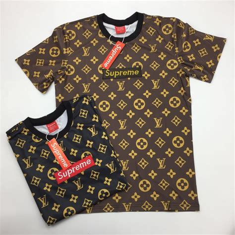 Kaos Supreme X Lv Black supreme x louis vuitton tshirt on carousell