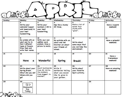 monthly school calendar template monthly homework miss s kindergarten