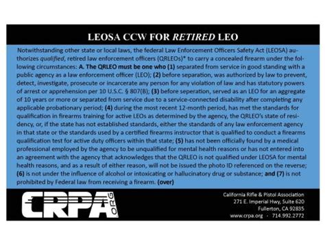 ONLY FOR OUR POLICE CLIENTS & FRIENDS: CRPA OFFERS LEOSA/H ... Leosa Police