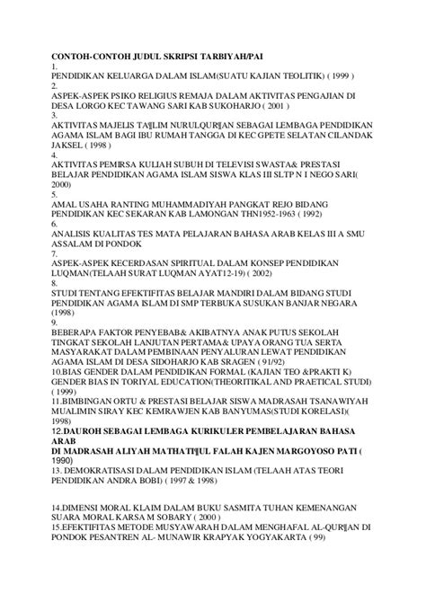 contoh format proposal judul skripsi contoh proposal skripsi pendidikan agama islam islam