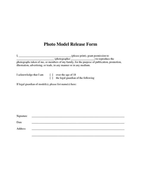 photographic release form template the world s catalog of ideas