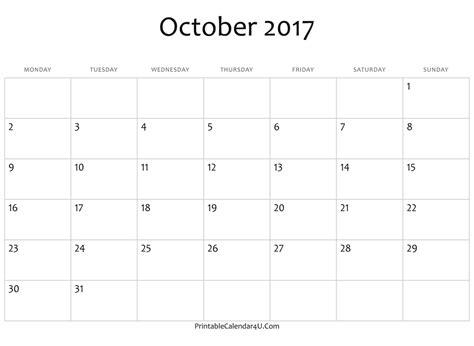 printable weekly calendar 2017 october blank october calendar 2017 ms word free printable 2017